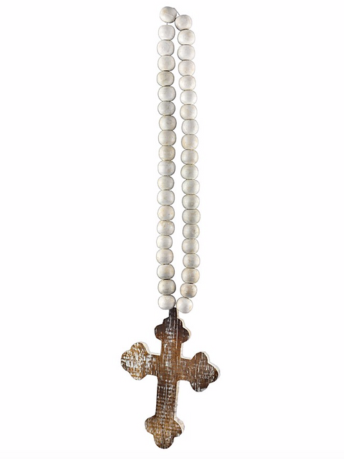 Distressed Natural Hand carved Cross with White Bead Hanger