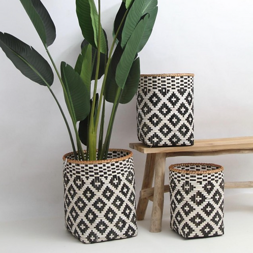 Black & white diamond baskets