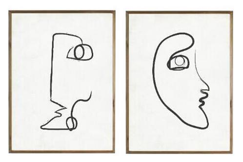 Face line illustrations [Pair]