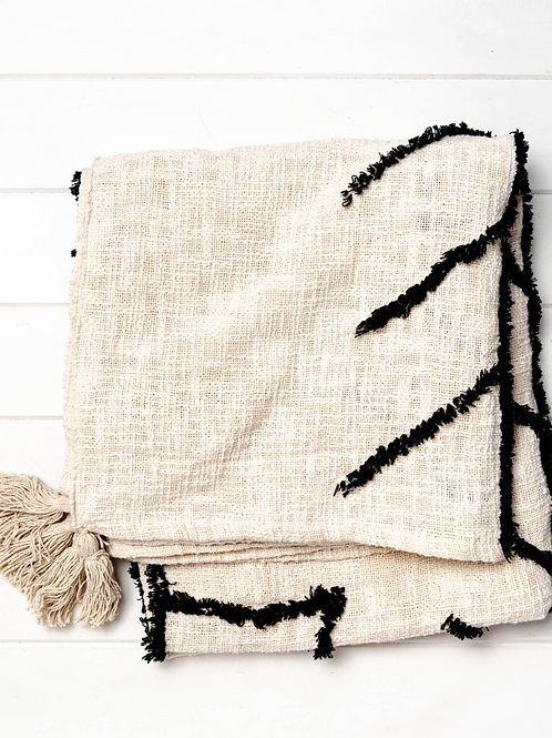 Kamu Throw Blanket - Natural & Black