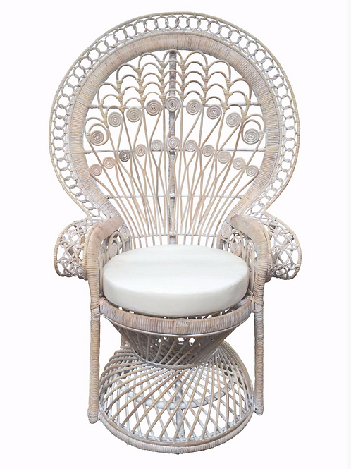 Whitewashed peacock chair
