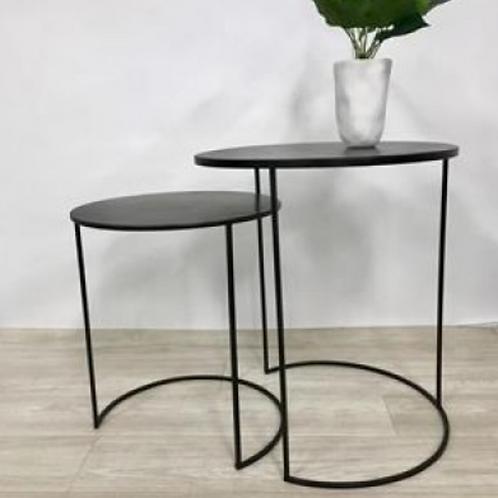 Round metal side tables (Set of two)