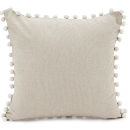 Chambray pom pom cushion