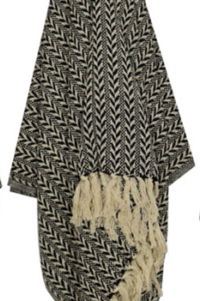 Black & Natural Arrow Cotton Throw