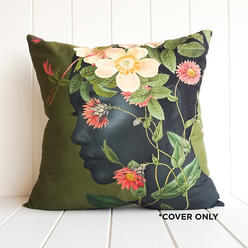Flowering Headpiece Olive - Indoor Cushion cover