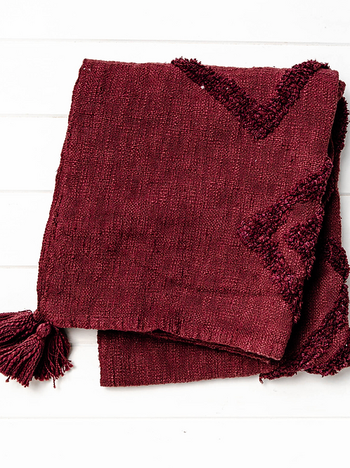 Jafir Throw Blanket -  Burgundy