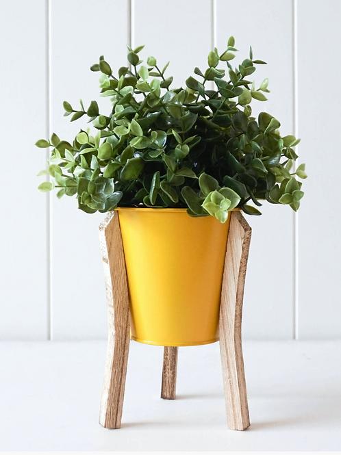 Malik Planter - Small - Tin and Timber Sunshine Yellow