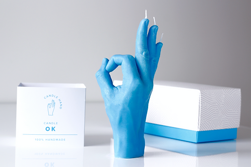 """OK"" Hand Gesture Candle Blue"