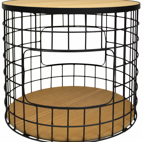 Round Industrial Side Table