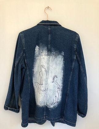 "Rebecca Lipsitch, ""A check in"" - Denim Jacket: Fabric Appliqué"