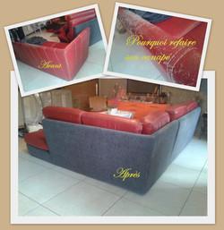 Canapé cuir rouge recouvert par Emi.La Fée
