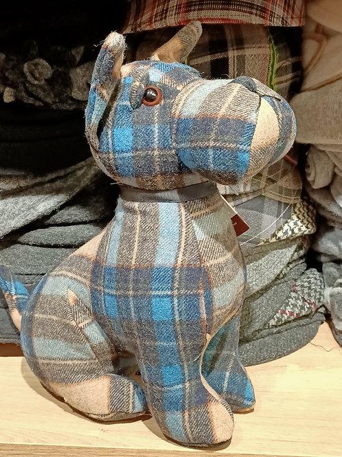 Cale-porte déco Chien carreaux écossais