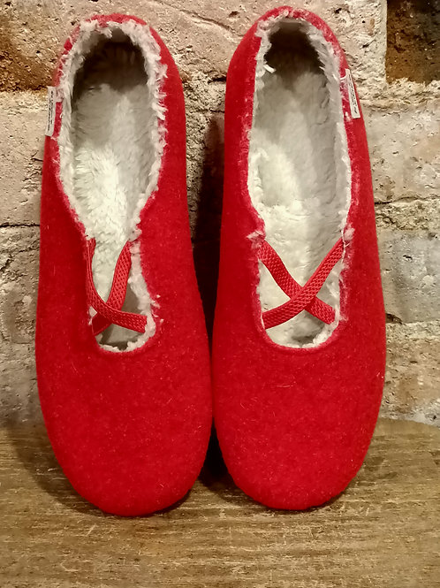 """Chaussons """"Ballerine"""" rouge"""