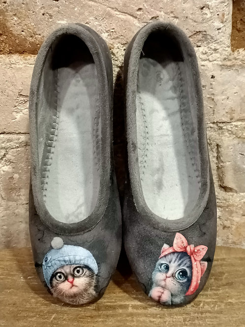 """Chaussons """"ballerine"""" Chats, gris"""
