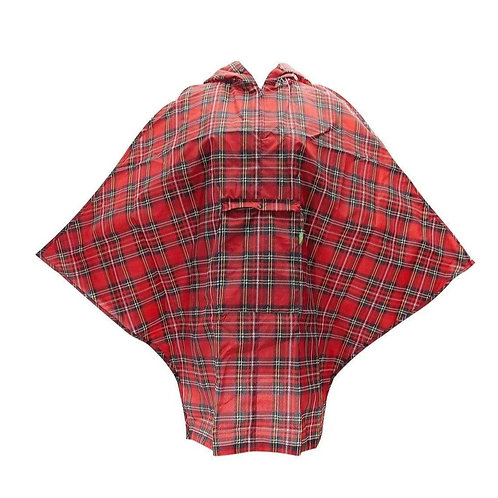 Poncho de pluie écossais rouge