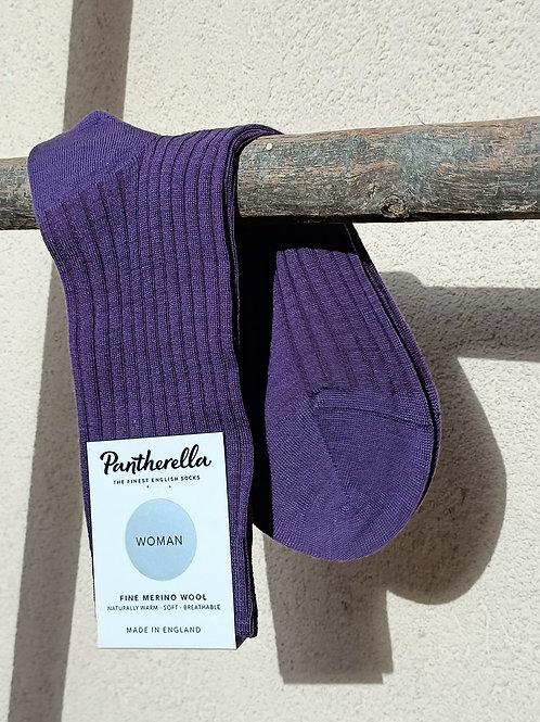 Chaussettes femme laine merinos violet