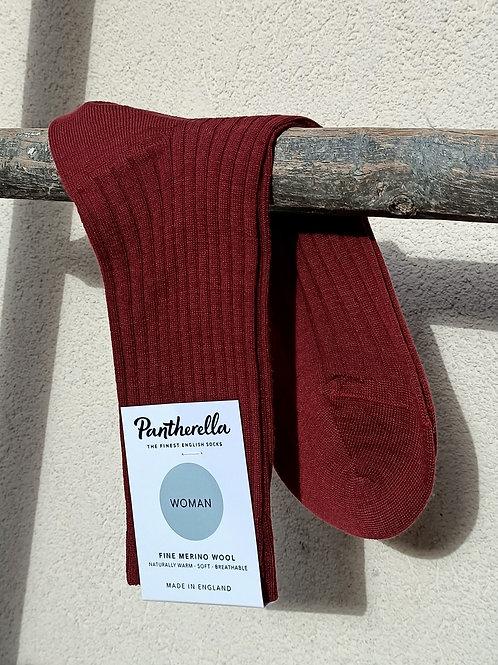 Chaussettes femme laine merinos Bordeaux