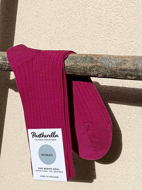 Chaussettes femme laine merinos Magenta