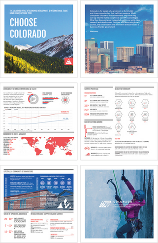 This brochure was created for the Colorado Office of Economic Development and International Trade (OEDIT), for an investment and trade mission to Hong Kong, Korea, and Singapore. Data was provided by OEDIT and I wanted to create a visually appealing way to present the story of why businesses should choose to invest in and do business with companies in Colorado.