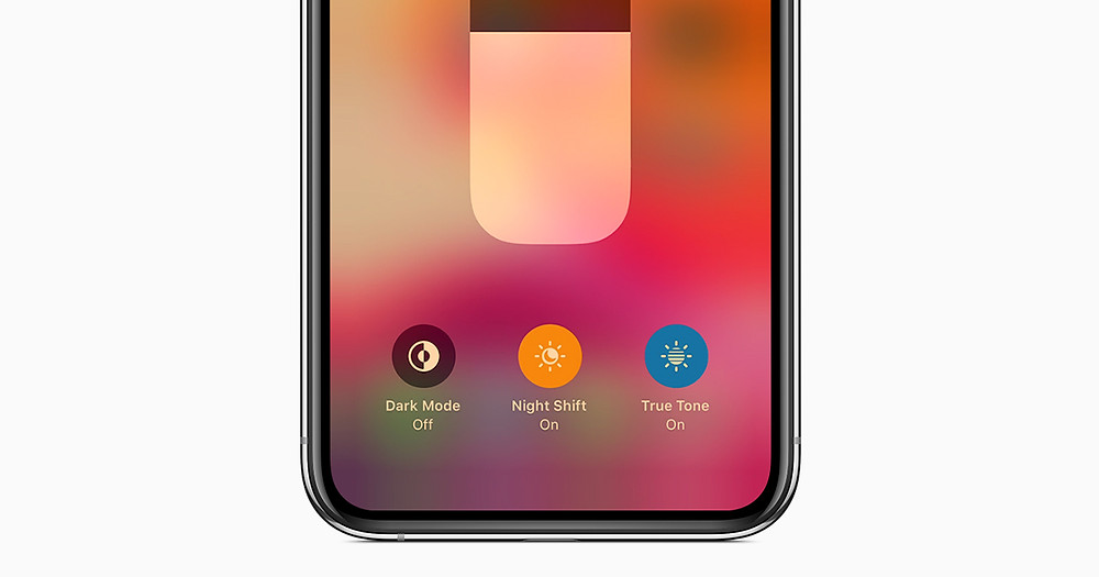 iPhone Night Shift blue light filter.