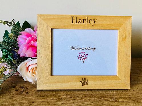 Personalised engraved oak pet frame