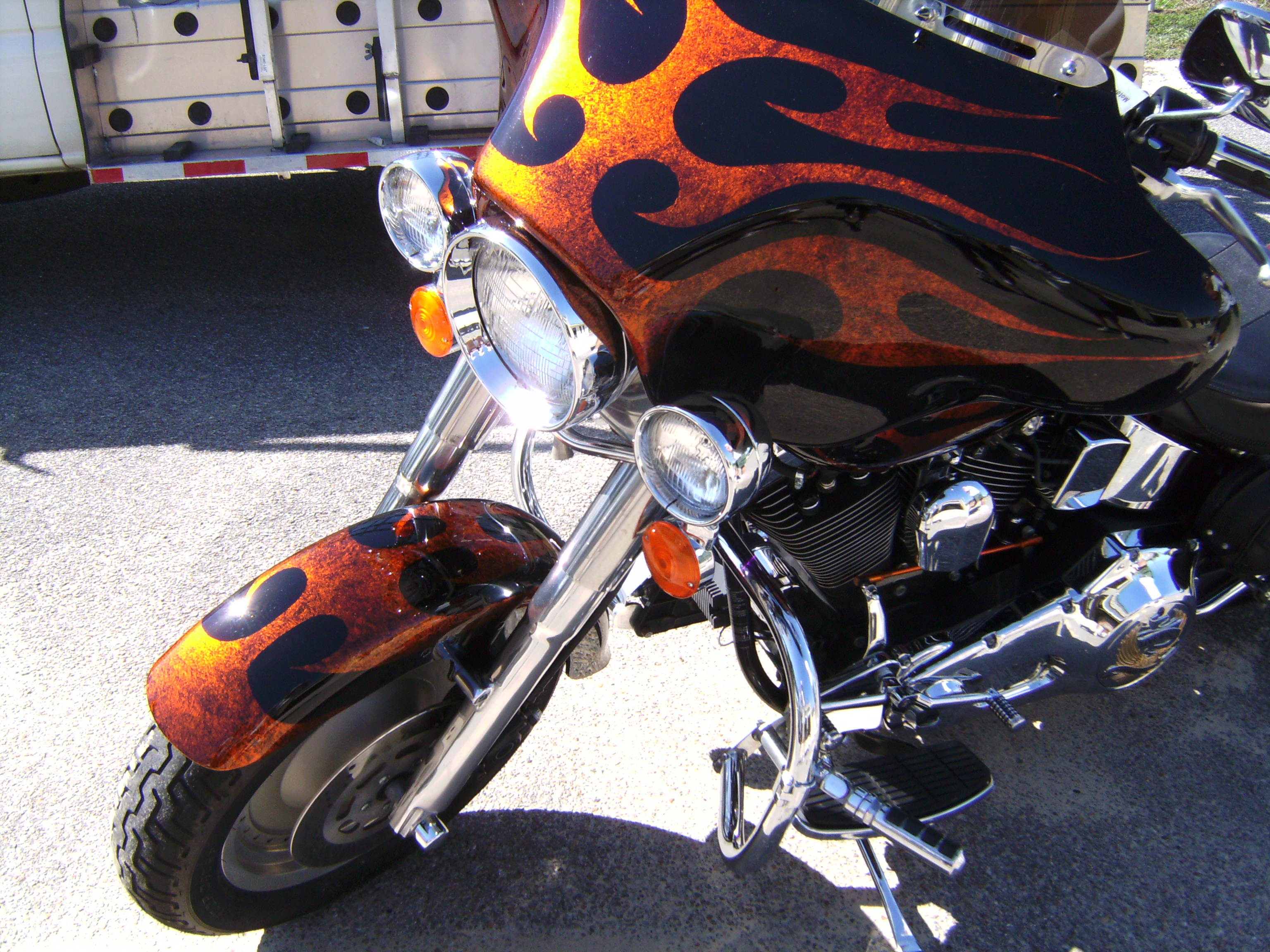 Harley Fat Bot Tribal flames