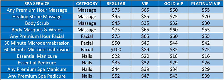 VIP Price Table