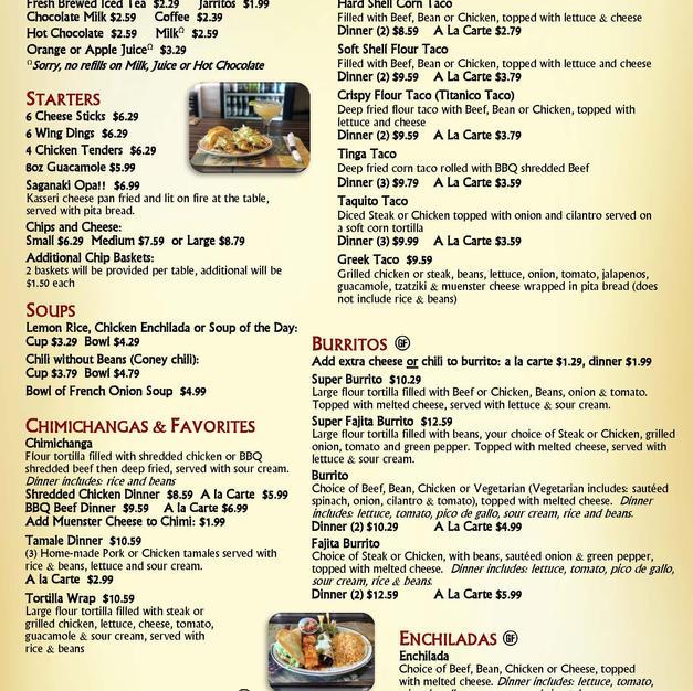 Starters, Soups, Tacos, Burritos, Tostadas, Chimis, Enchiladas & Combos