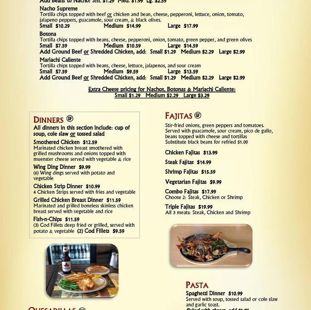 Nachos, Botonas, Fajitas, Dinners, Quesadillas & Pasta