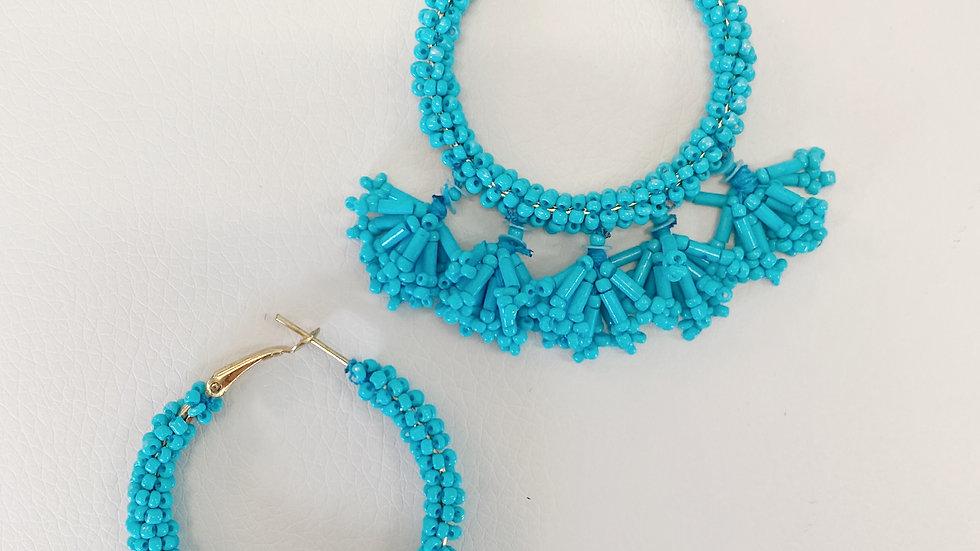 Turquoise Beaded Hoop