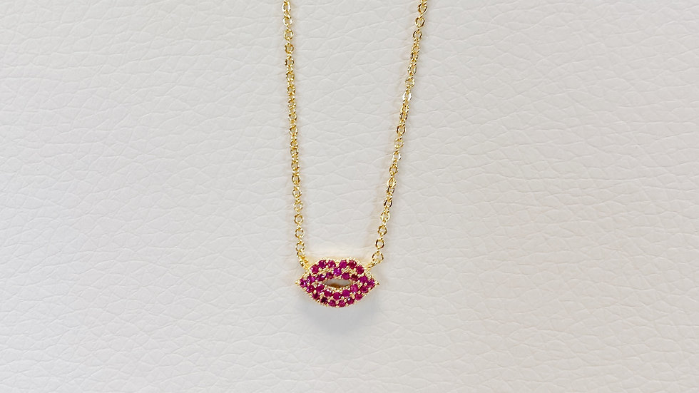 Magenta Lip Necklace
