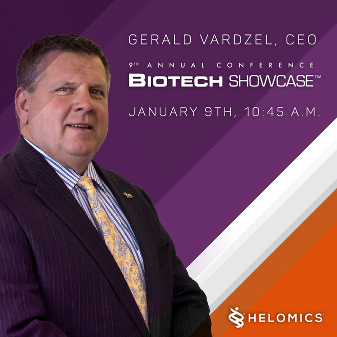 CEO Gerald Vardzel to Present at 9th Annual Biotech Showcase on January 9, 2017
