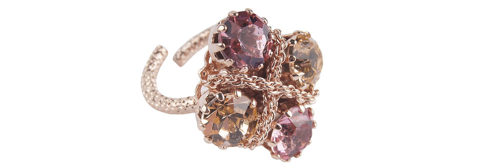 Crystal Braid Ring LtRose IndianPink in Rose gold finish