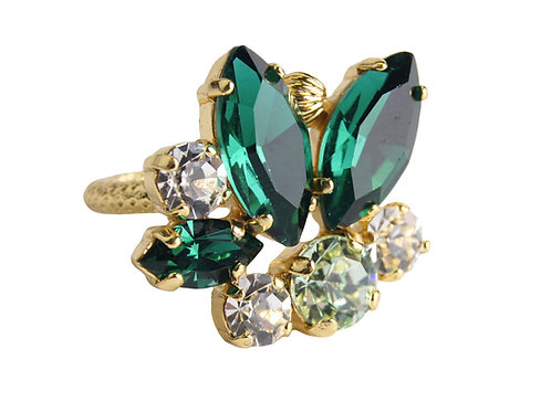 Dew Drop Floral Marquis ring in Chrysolite_GoldQ_Emerald