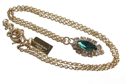 Dew Drop Single Marquis Pendant necklace in Crystal_Emerald