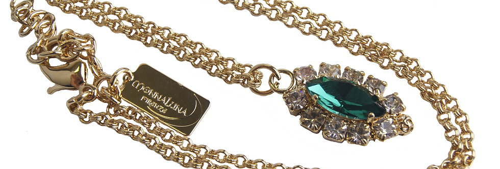 Dew Drop Single Marquis Pendant necklace in Crystal_Emerald