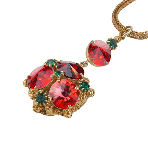 Kaleidoscope Pendant Necklace with Crystals and spheres SmEm_Siam_LtSiam_Pad
