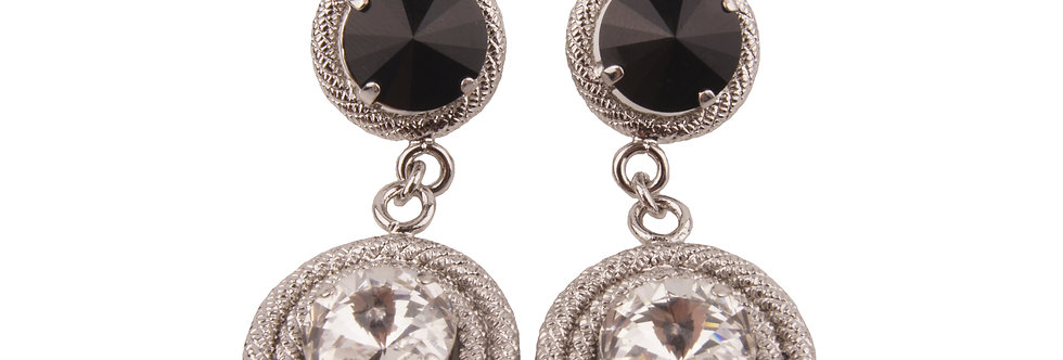 Dual spiga earrings in jet black and crystal in white gold