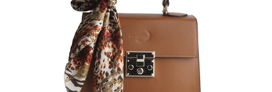 Mignon Kelly handbag in beige front view with small foulard