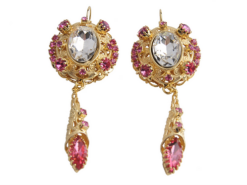Royal Oval Ovation Earrings in Crystal_Rose