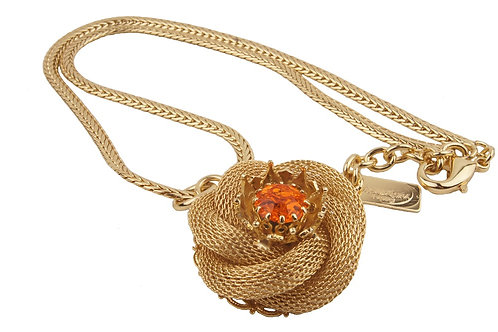 Chaine maille rose bud pendant necklace orange