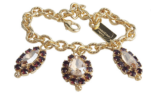 Dew Drop Charm bracelet in Bordeaux_GoldenShadow