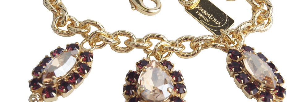 Dew Drop Charm bracelet in Bordeaux_GoldenShadow