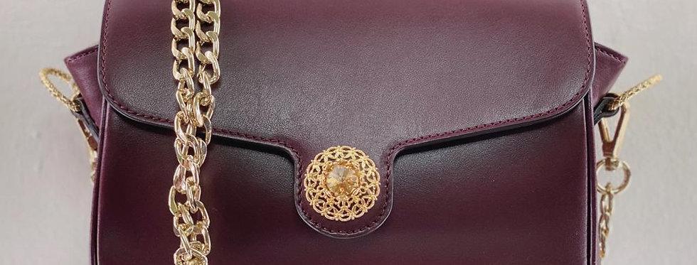 Bordeaux calf leather clutch handbag with crystal