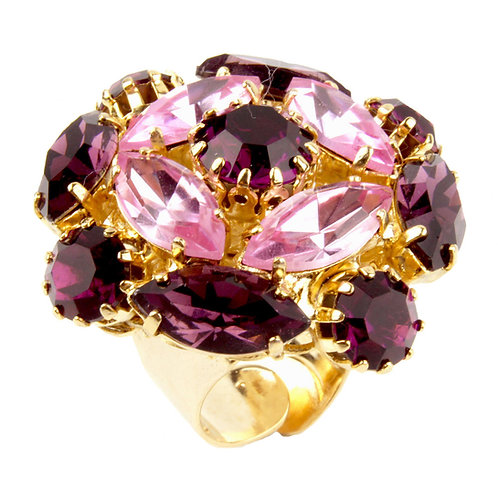 Geometric Marquis ring in Amethyst and LtRose