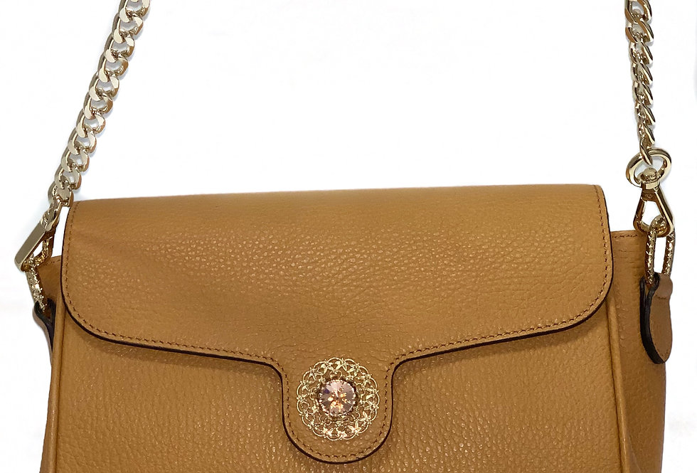 Ocre yellow calf leather clutch handbag with crystal