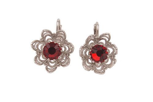 Crown point petal earrings red