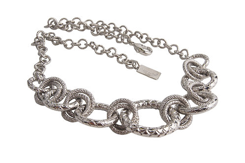 Spiga Ring Necklace with round elements in White Gold