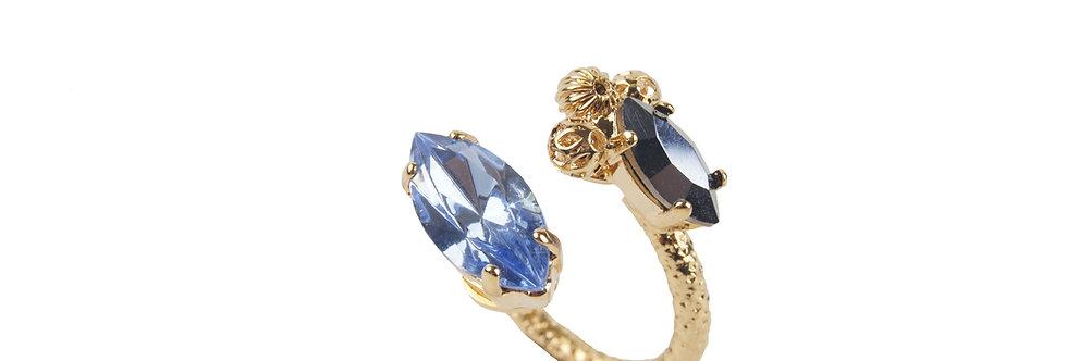 Dew Drop Navette Ring Blue
