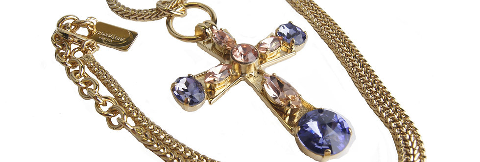 Cross pendant with peach and purple jewels